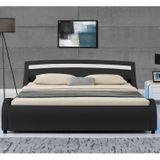 """Čalúnená posteľ ,,Malaga"""" 140 x 200 cm s LED panelmi po bokoch - čierna"""