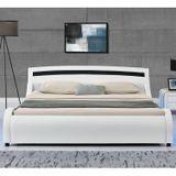 """Čalúnená posteľ ,,Malaga"""" 180 x 200 cm s LED bočnými panelmi - biela"""