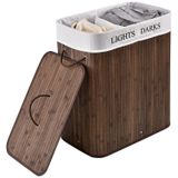 Bambusový kôš na prádlo Curly 100 litrový, hnedý s vrecom na bielizeň a s uškami na prenášanie