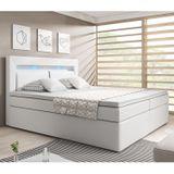 """Posteľ ,,New Jersey"""" 180 x 200 cm s pružinovým matracom a úložným priestorom, biela"""