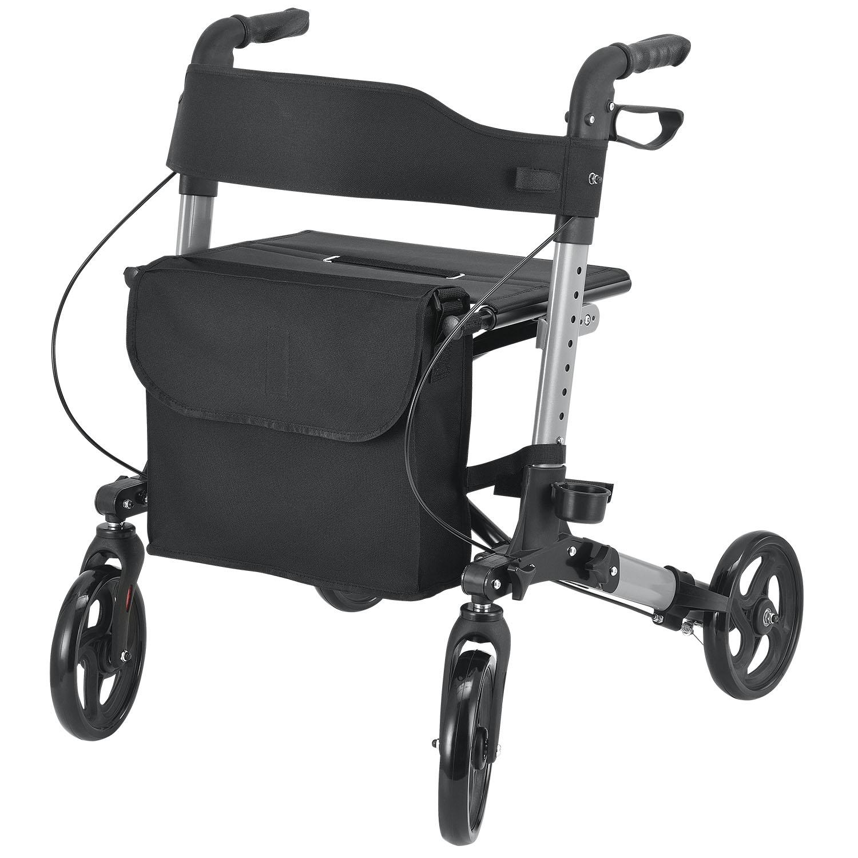 Eshopist Hliníkové chodítko Rollator Vital, čierne, s plochou na sedenie & a čiernou nákupnou taškou, 25 l