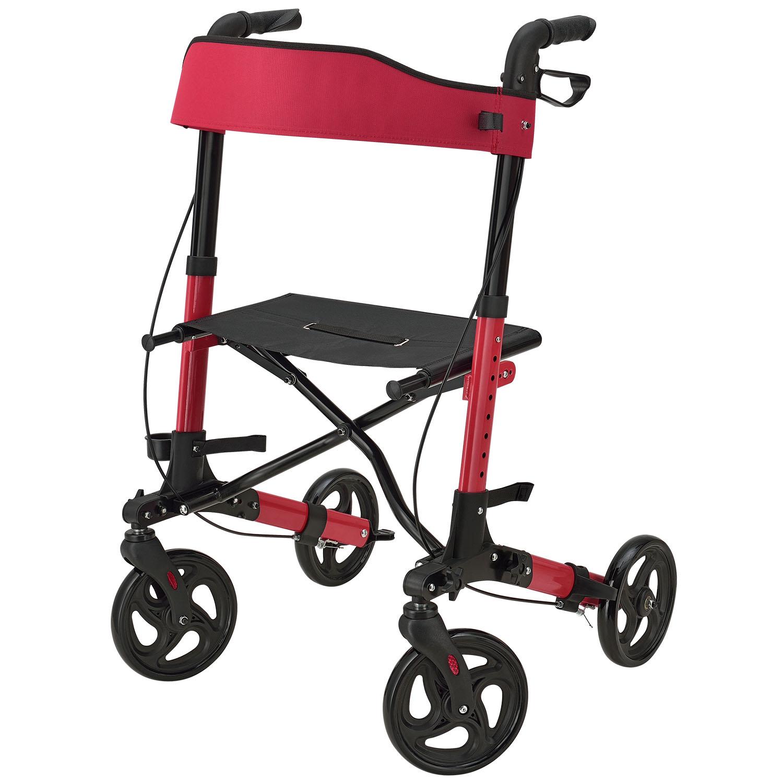 Eshopist Hliníkové chodítko Rollator Vital, čierne, s plochou na sedenie a červenou nákupnou taškou
