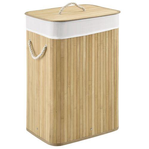 Bambusový kôš na prádlo Curly 72 litrový, natúr s vrecom na bielizeň a s uškami na prenášanie