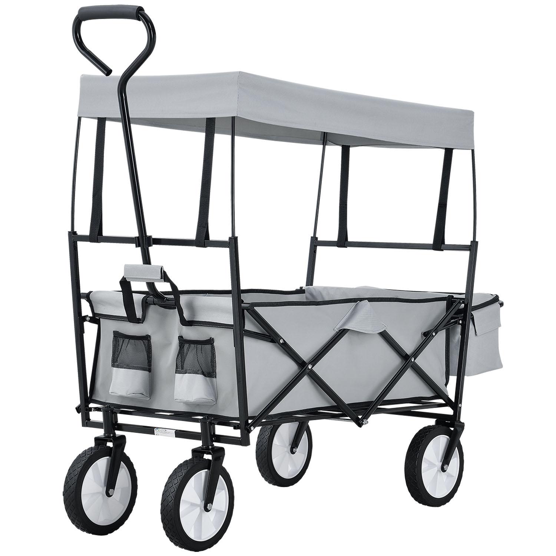 Eshopist Skladací vozík s odnímateľnou strechou a taškou sivý