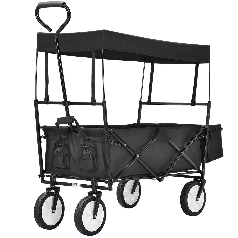 Eshopist Skladací vozík s odnímateľnou strechou a taškou čierny