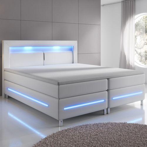 Pružinová posteľ Norfolk 180 x 200 cm biela - LED pásy a pružinové jadro matrace