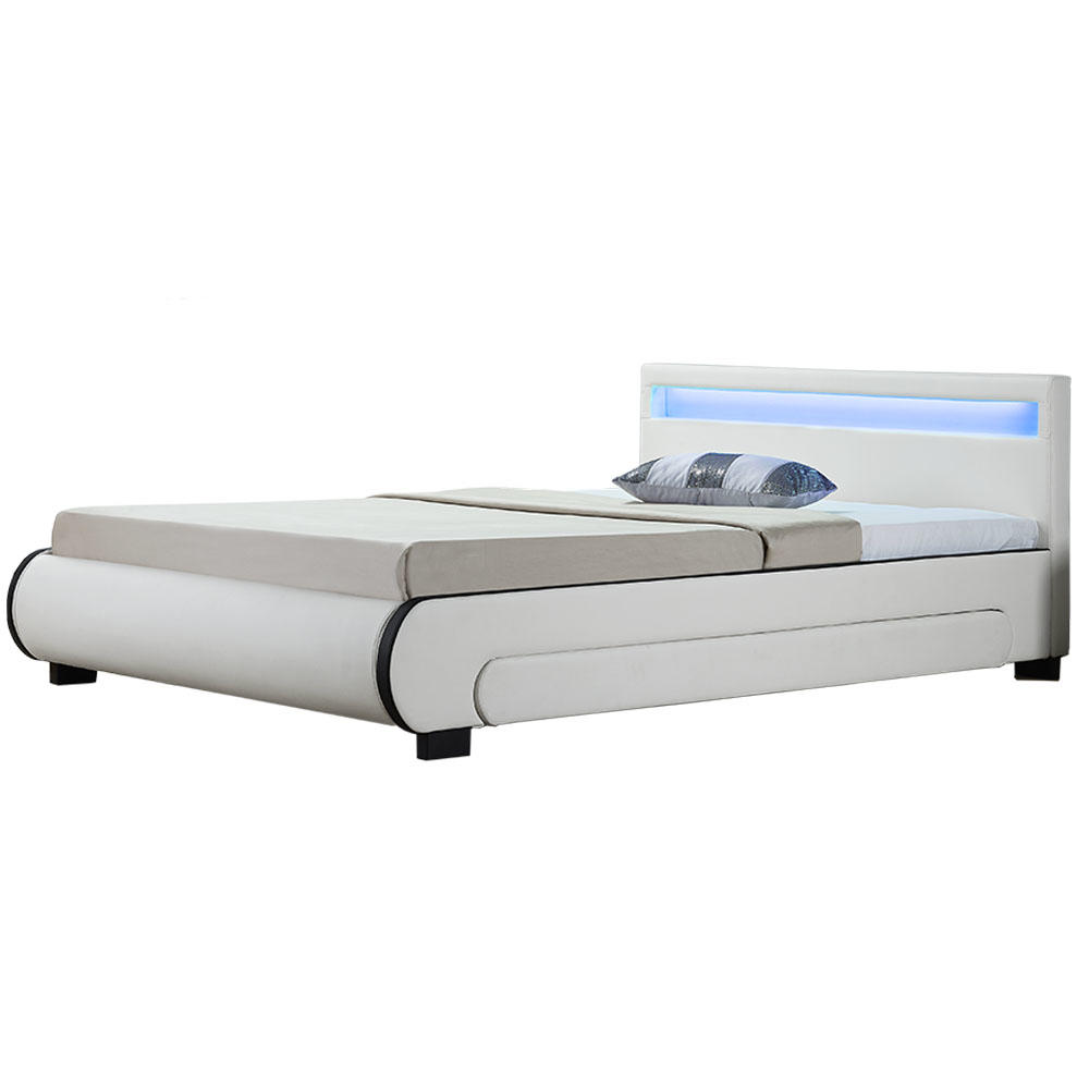 """Eshopist Čalúnená posteľ ,,Bilbao"""" s úložným priestorom 180 x 200 cm - biela"""