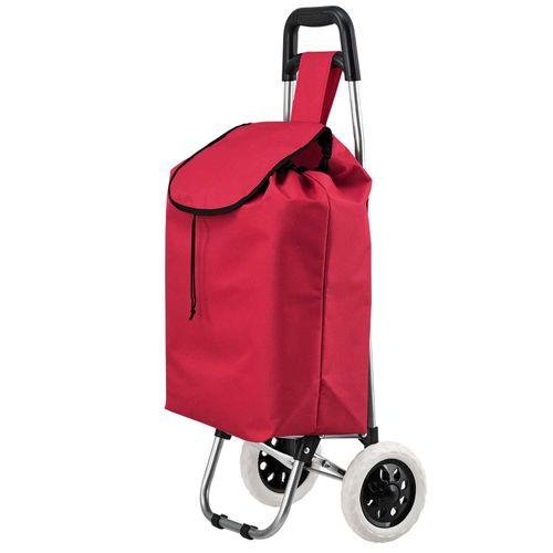 Koliesková nákupná taška Meran skladacia, červená, s veľkými kolieskami