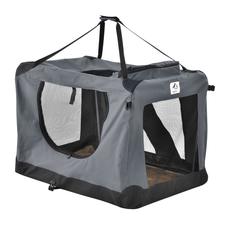 Eshopist Skladací prepravný box pre psov Lassie L (tmavosivý)
