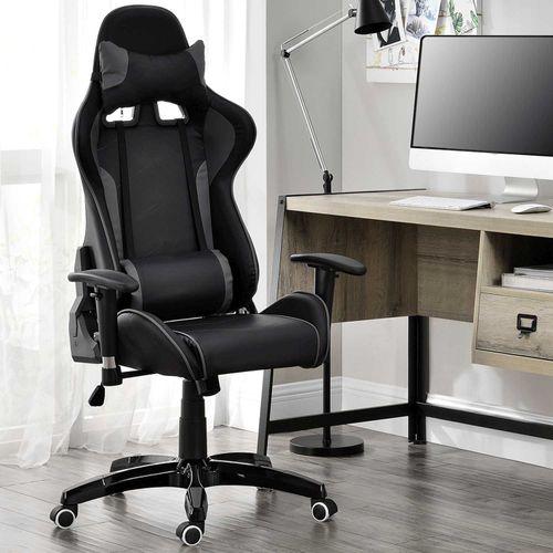 Stolička Infinity s krčnou a bedrovou opierkou čierno-tmavosivá