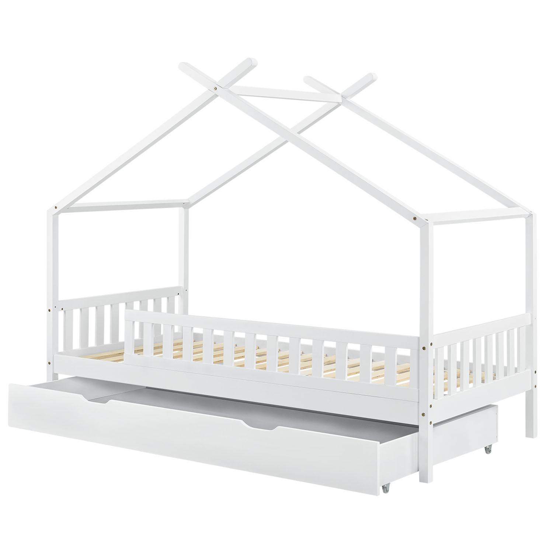 Eshopist Detská posteľ Tipi 90 x 200 cm s úložným priestorom a roštom v bielej farbe
