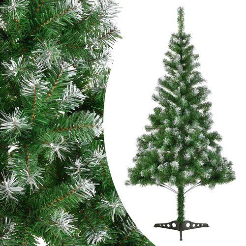 Umelý vianočný stromček 120 cm zelená s umelým snehom vrátane stojanu
