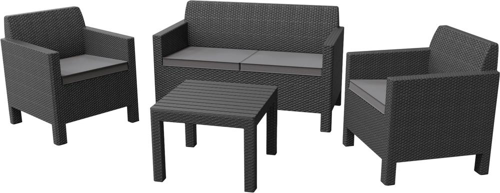 Allibert ORLANDO + SMALL TABLE - grafit + sivé podušky