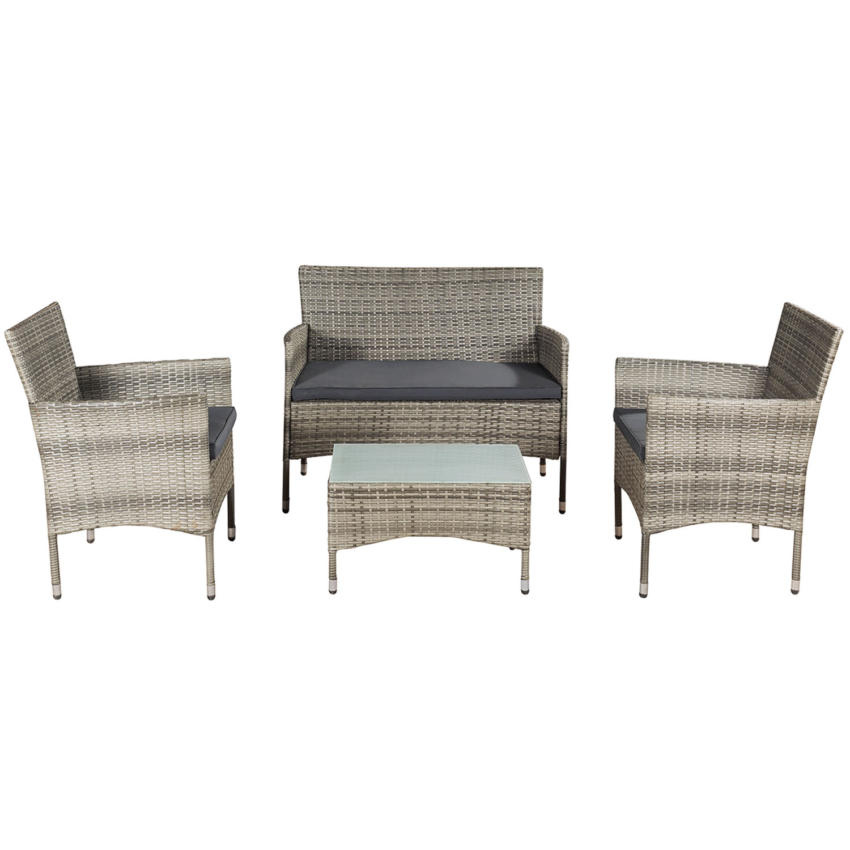 """Eshopist Polyratanový záhradný nábytok """"Fort Myers"""" šedý a tmavošedé sedáky"""