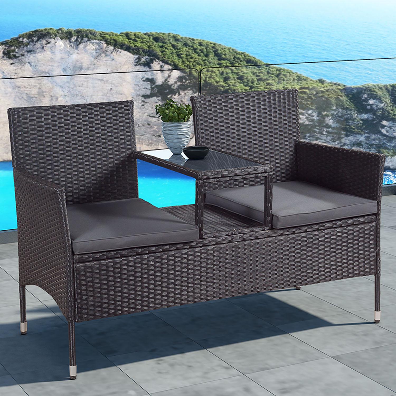 """Eshopist Polyratanový záhradný nábytok """"Monaco"""", čierna s tmavošedými sedákmi"""