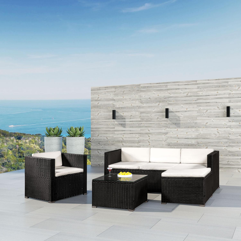 """Eshopist Polyratanový záhradný nábytok ,, Punta Cana L"""" čierna s krémovými vankúšmi"""
