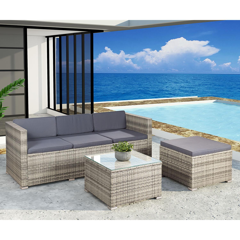 """Eshopist Polyratanový záhradný nábytok """"Punta Cana"""" šedej farby s tmavo šedými sedákmi"""
