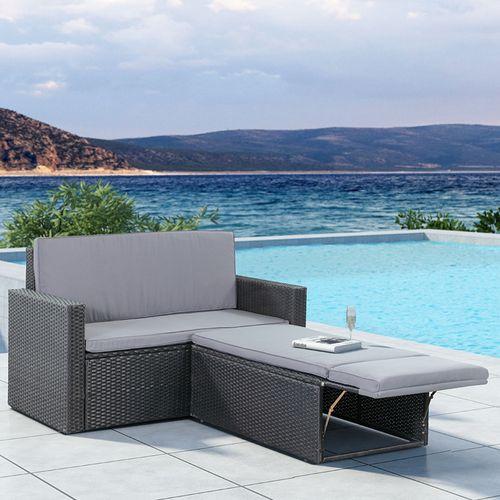 Polyratanový záhradný nábytok Relax-Lounge čierny s tmavosivým matracom