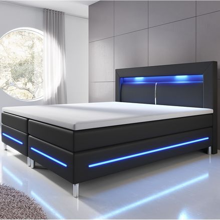 Pružinová posteľ Norfolk 180 x 200 cm čierna - LED pásy a pružinové jadro matrace