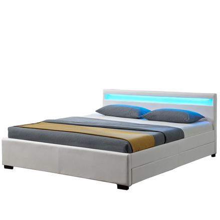 """Čalúnená posteľ ,,Lyon"""" s úložným priestorom - biela"""