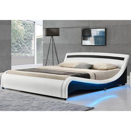 """Čalúnená posteľ ,,Malaga"""" 140 x 200 cm s LED panelmi po bokoch - biela"""