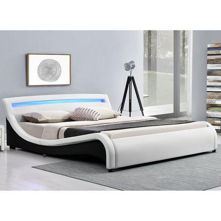 """Čalúnená posteľ ,,Malaga"""" 180 x 200 cm s LED na čelnej doske - biela"""