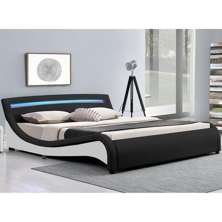 """Čalúnená posteľ ,,Malaga"""" 180 x 200 cm s LED na čelnej doske - čierna"""