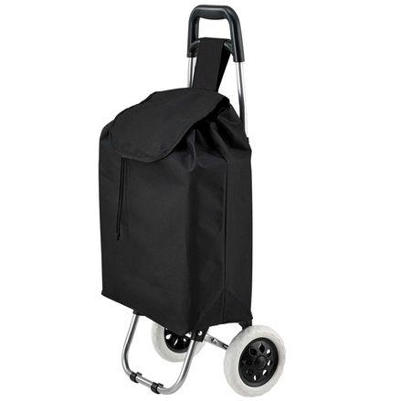 Koliesková nákupná taška Meran skladacia, čierna, s veľkými kolieskami