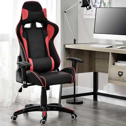 Stolička Infinity s krčnou a bedrovou opierkou čierno-červená