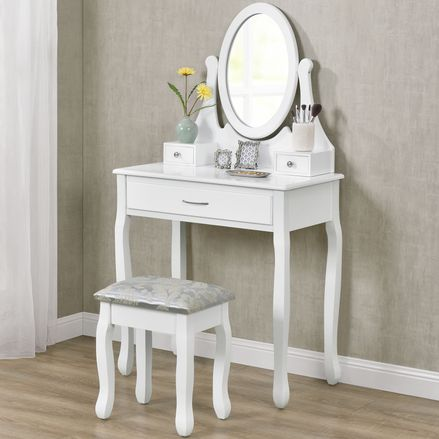 """Toaletný stolík """"Lena"""" biely so zrkadlom a stoličkou"""