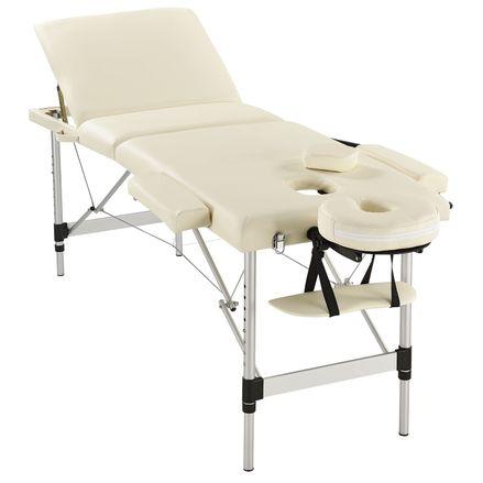 """,,Masážny stôl"""", hliníkový rám (béžový) 180 x 60 cm"""