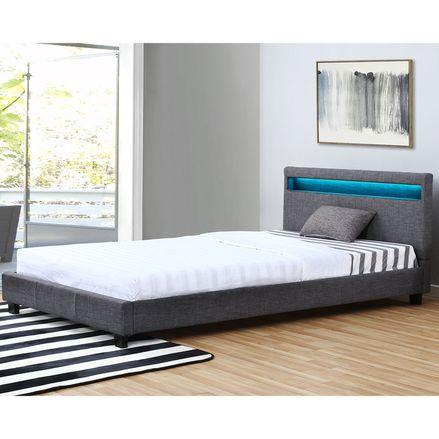 Čalúnená posteľ Verona 120 x 200 cm s LED osvetlením v tmavosivej farbe