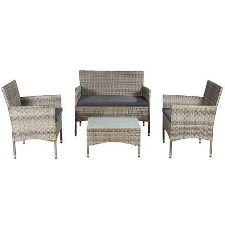 """Polyratanový záhradný nábytok """"Fort Myers"""" šedý a tmavošedé sedáky"""