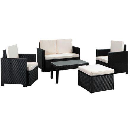 """Polyratanový záhradný nábytok ,,Samos"""" pre 4 osoby v čiernej farbe"""