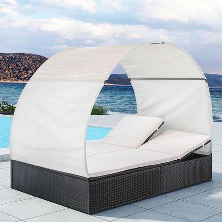 """Polyratanový záhradný nábytok ,,Sunlounger Lounge Ibiza XL"""" so strechou, pre 2 osoby"""