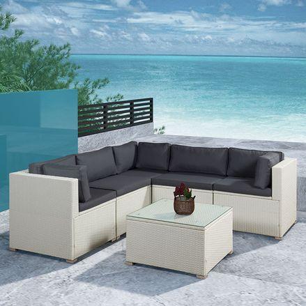 Polyratanový záhradný nábytok Nassau biely s tmavosivým matracom