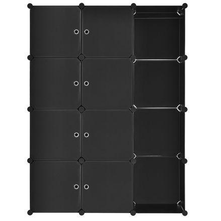 Šatníková skriňa s 12 variabilnými krabicami v čiernej farbe