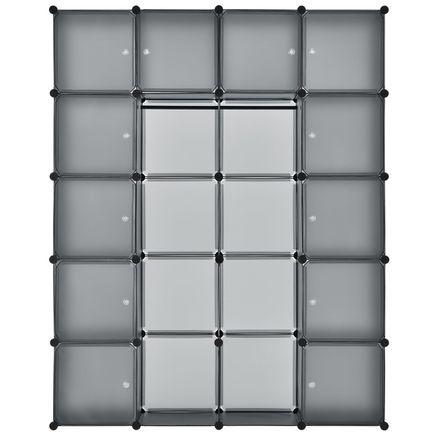 Šatníková skriňa s 20 variabilnými boxmi v tmavo šedej farbe
