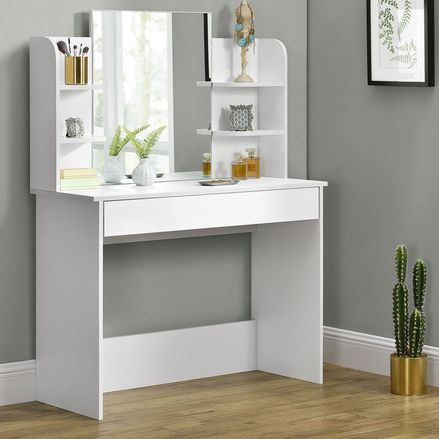 """Toaletný stolík """"Bella"""" biely so zrkadlom, bez taburetky"""