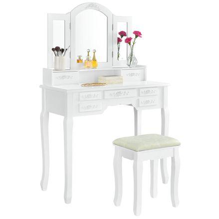 """Toaletný stolík """"Hannah"""" biely so zrkadlom a stoličkou"""