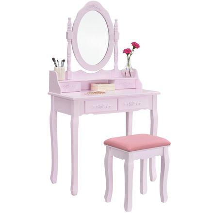 """Toaletný stolík """"Mira"""" ružový so zrkadlom a stoličkou"""