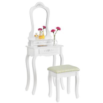 """Toaletný stolík """"Sophia"""" biely so zrkadlom a stoličkou"""