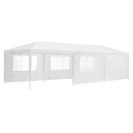 Záhradný stan 3x9m s bočnými stenami v bielom