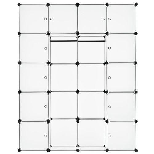 Šatníková skriňa s 20 variabilnými boxmi v bielej farbe
