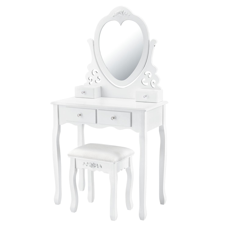 """Eshopist Toaletný stolík """"Julia"""" biely so srdcovým zrkadlom a s taburetkou"""