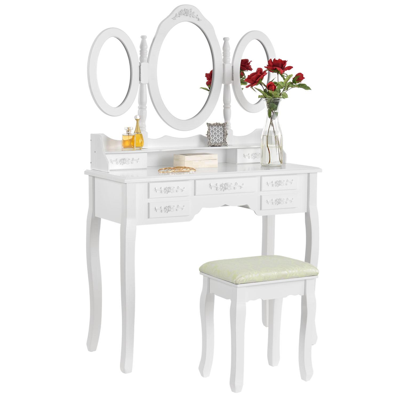 "Eshopist Toaletný stolík ""Elsa"" biely so zrkadlom a stoličkou"