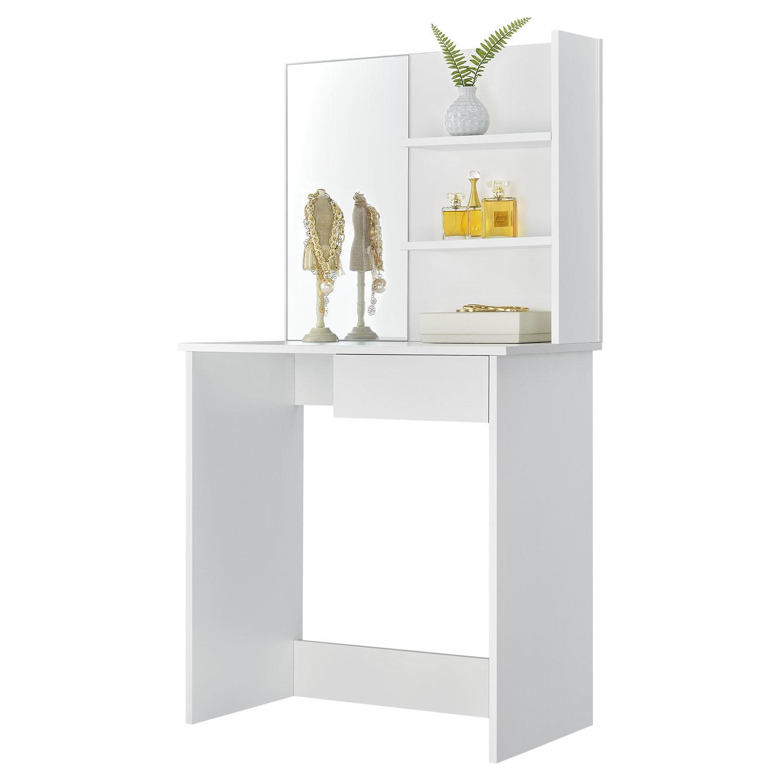 """Eshopist Toaletný stolík """"Jenna"""" biely so zrkadlom bez stoličky"""