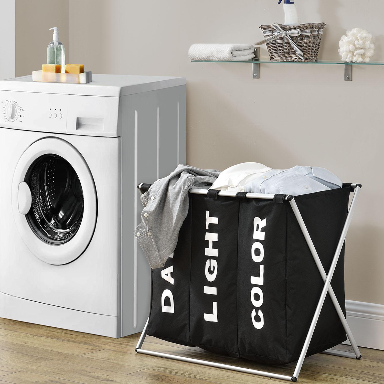 Eshopist Kôš na prádlo W3S s 3 priehradkami v čiernej farbe z hliníku