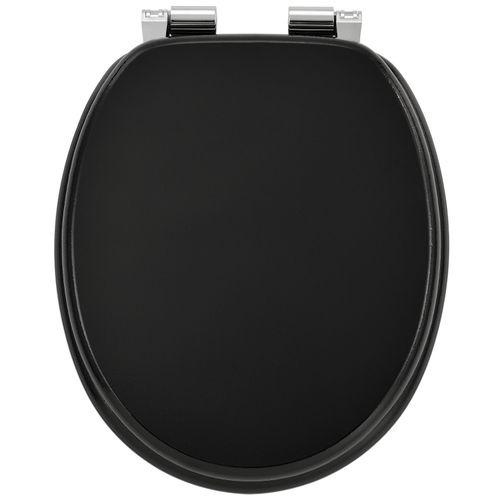 Záchodová doska čierna vyrobená z MDF s tichým zatváraním